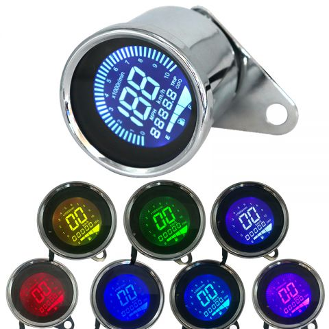 7 Colors LCD 12V Motorcycle Speedometer